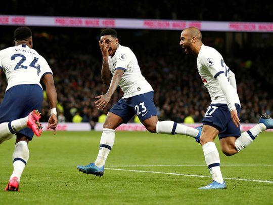 Tottenham Hotspur's Steven Bergwijn celebrates scoring their first goal with Serge Aurier and Lucas Moura