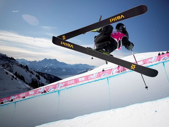 China's Songsheng Li in action during the Freestyle Skiing Men's Freeski Halfpipe