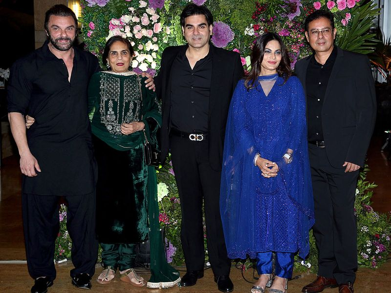 Bollywood actor Sohail Khan with mother Salma Khan and brother Arbaaz Khan.