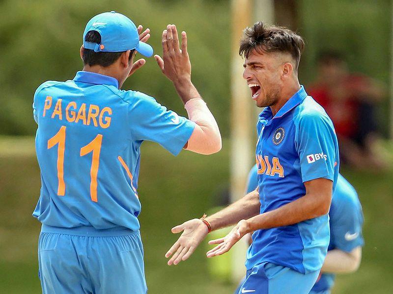 India's Ravi Bishnoi celebrates his first wicket against Pakistan
