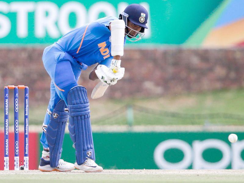 India's batsman Yashasvi Jaiswal plays a shot.