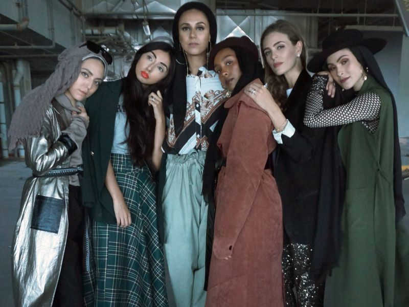 Left to right fashion designer Safiya Abdallah, fashion blogger Sameera Hussain, fashion blogger Saira Arshad, graphic designer Rihab Nubi, brand ambassador Maha Gorton and fashion blogger Nabilah Kariem-1580820952753