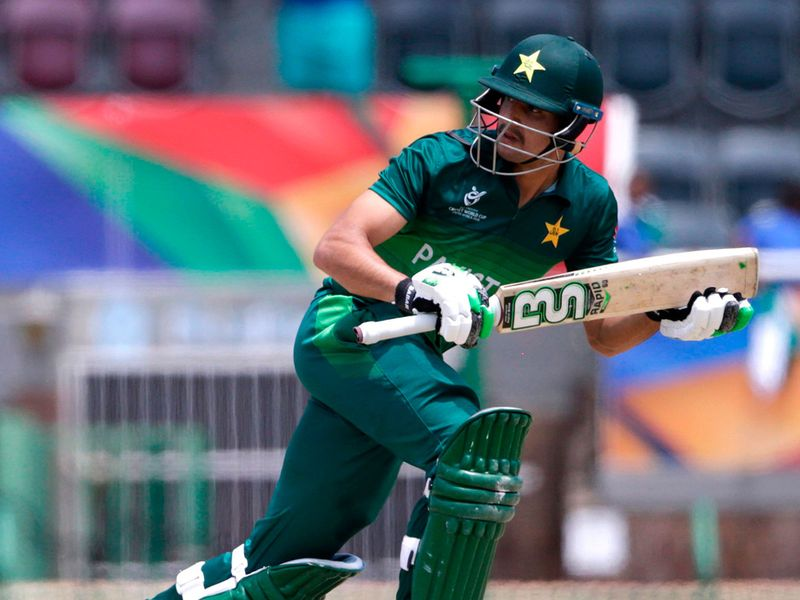Pakistan's Haider Ali runs between the wickets against India