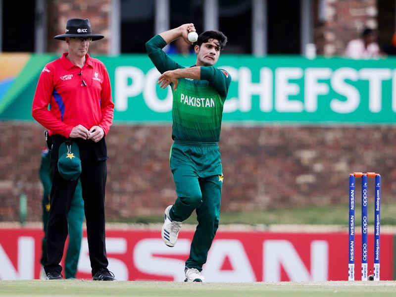 Pakistan's Qasim Akram delivers a ball.