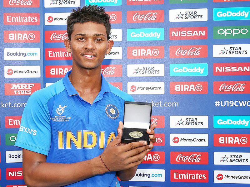 Yashasvi Jaiswal of India poses with his player of the match award.