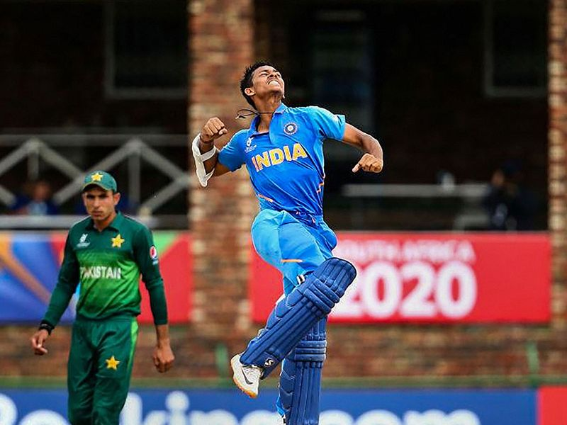 Centurion Yashasvi Jaiswal of India celebrates the ICC U19 Cricket World Cup semi-final match win over Pakistan