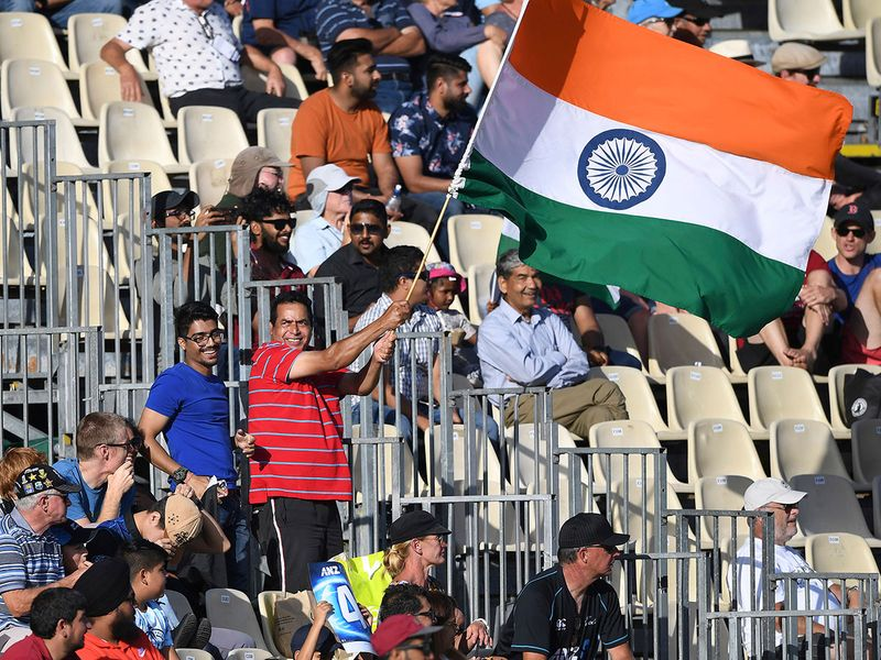 India fans celebrate the win in the first ODI against Zew Zealand in Hamilton