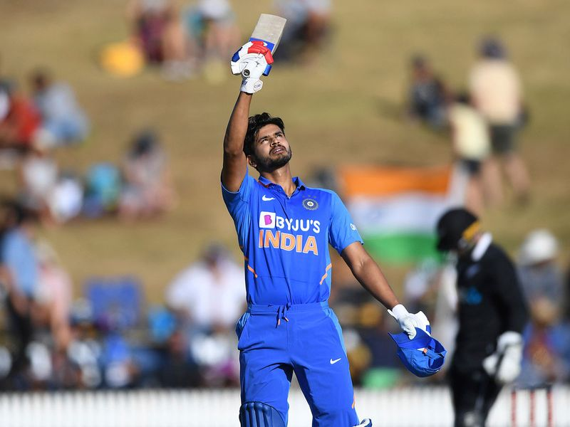 India's Shreyas Iyer celebrates his century against New Zealand