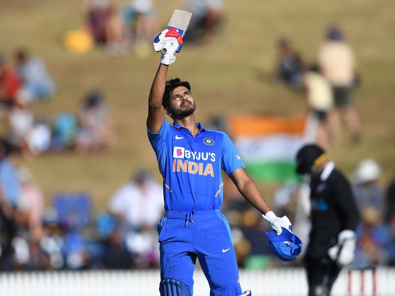 India's Shreyas Iyer celebrates his century during the 1st ODI against New Zealand at Seddon Oval in Hamilton, on February 5, 2020.