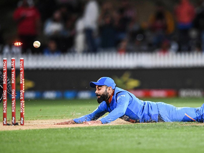 Indian captain Virat Kohli runs out Nicholls