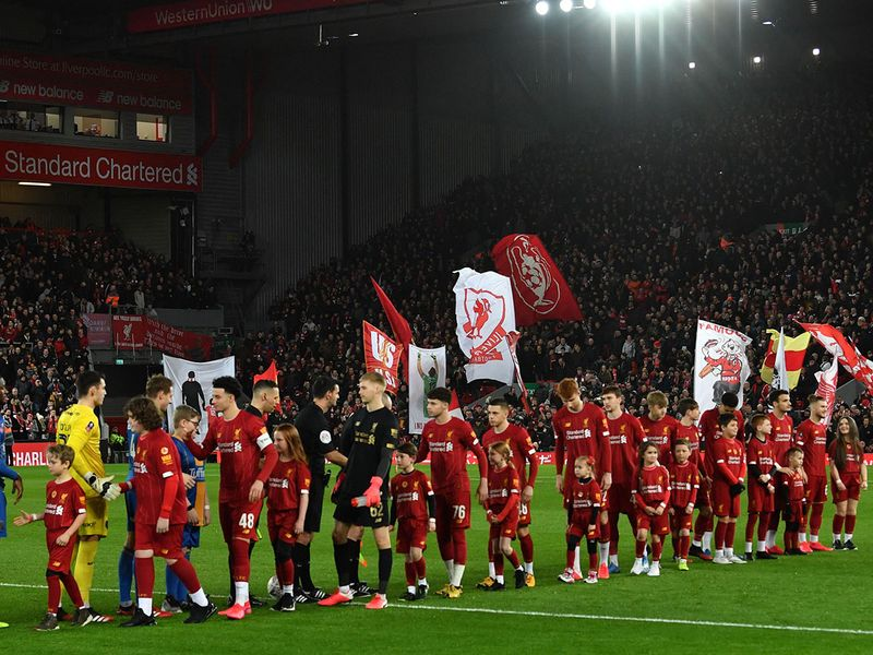 Liverpool's youngest ever team line up ahead of the English FA Cup fourth round reply football match between Liverpool and Shrewsbury Town a