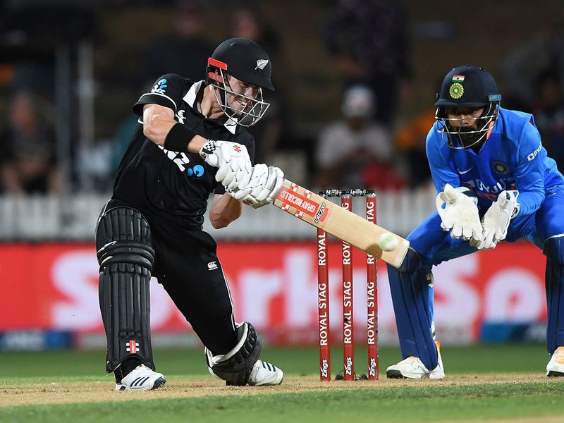 New Zealand's Henry Nicholls batting as India wicketkeeper KL Rahul looks on