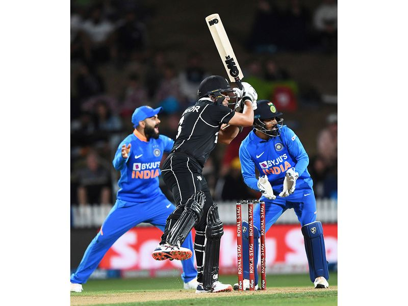 New Zealand's Ross Taylor batting against India in the ODI