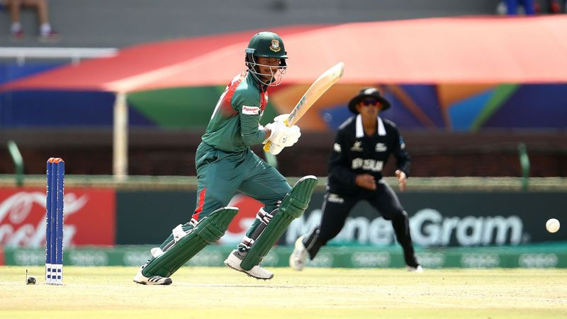 Mahmudul Hasan Joy of Bangladesh bats during the ICC U19 Cricket World Cup Super League Semi-Final match between New Zealand and Bangladesh at JB Marks Oval on February 06, 2020 in Potchefstroom, South Africa.