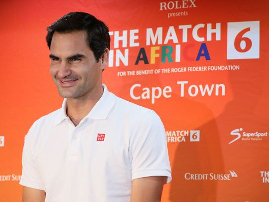 Roger Federer speaks during a media briefing  at Cape Town International Airport ahead of his exhibition tennis match against Rafael Nadal, in Cape Town, South Africa, February 5, 2020. REUTERS/Sumaya Hisham