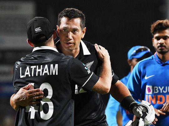 Ross Taylor hugs his captain Tom Latham at the end of the ODI win over