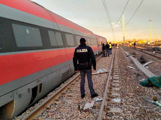 This image provided by the Italian State Police shows part of the Frecciarossa speed train that derailed near Lodi, northern Italy, on Thursday.
