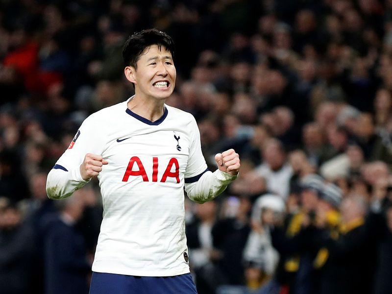 Tottenham's Son Heung Min celebrates the 3-2 FA Cup win over Southampton