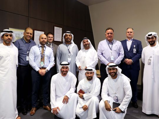 Abu Dhabi Airports officials at the lighting upgrade ceremony