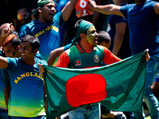 Bangladesh fans celebrate during the U19 Cricket World Cup final against India in Potchefstroom