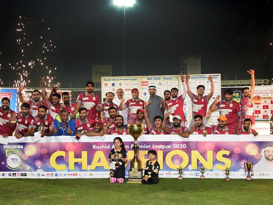 Gulf International that emerged champions of the Rashid Alleem Premier League beating Omega Insurance Brokers in the final at the Sharjah Cricket Stadium. Picture: Organisers