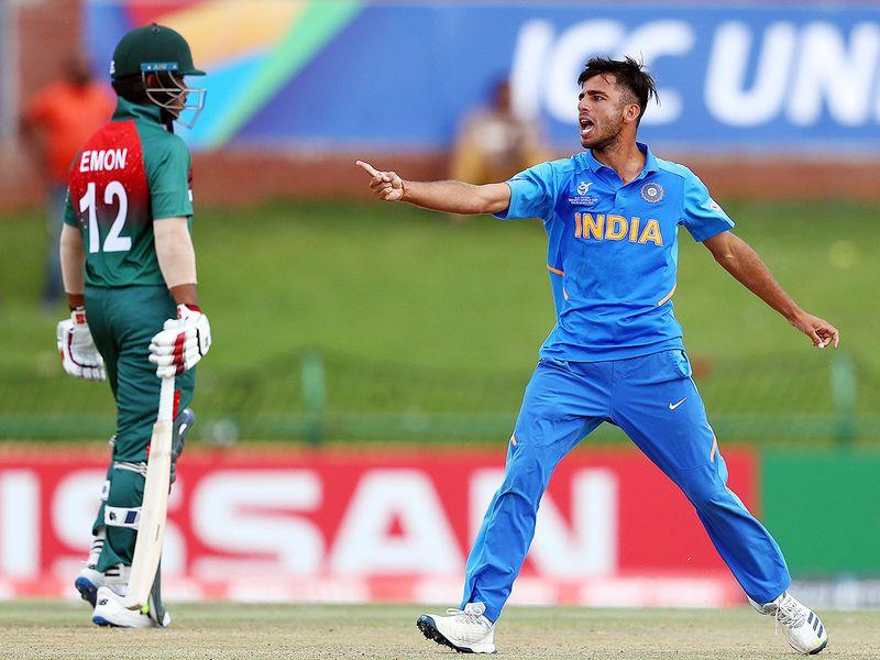 India's Ravi Bishnoi reacts after taking wicket of Bangladesh's Tanzid Hasan.