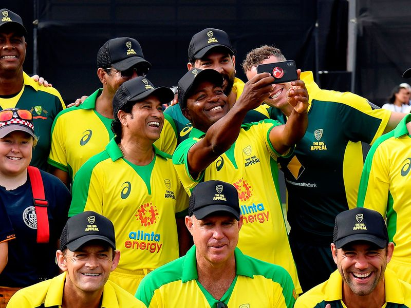 Sachin Tendulkar is known to have been particularly devastating against the great Australian teams, he had played against in his illustrious career. On Sunday, he donned the Australian green and gold to play an over during the innings break of the Bushfire Cricket Bash legends match.