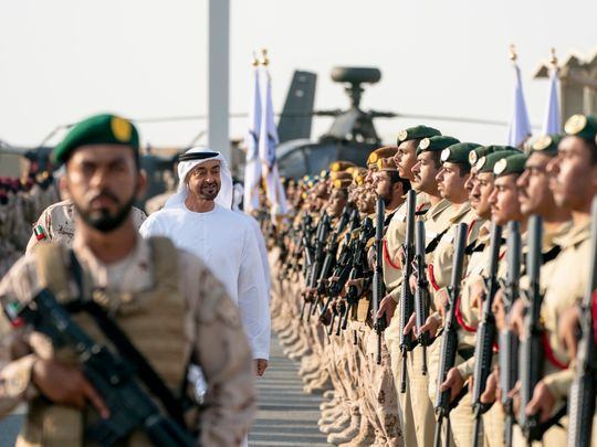 Sheikh Mohamed bin Zayed welcoming soldiers