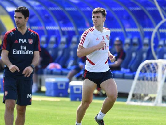 There was good news for Arsenal fans as Kieran Tierney returned to full-time training, under the watchful eye of Arteta