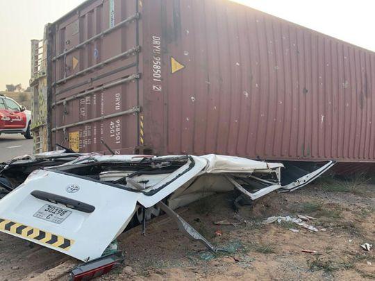 Truck container falls on minibus killing driver