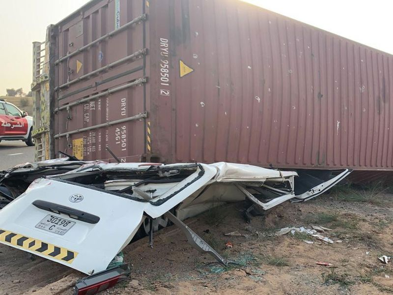 Truck container falls on minibus killing driver