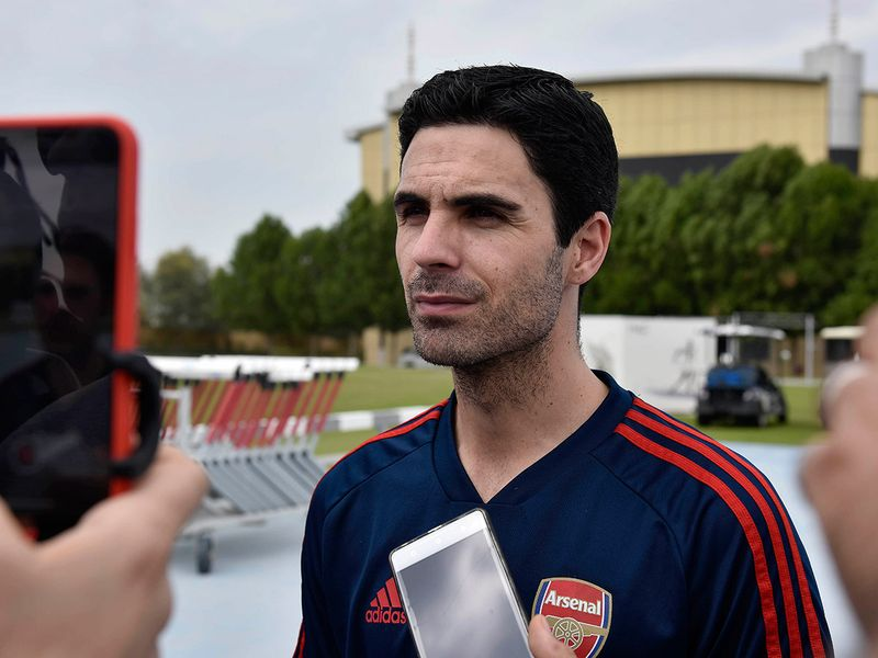 Arsenal coach Mikel Arteta speaks to the media at NAS Sports Complex in Dubai