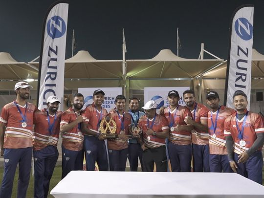 Emirates team that emerged as the champions of the Zurich Cricket Sixes tournament organised by Zurich in the Middle East at the Sevens Stadium Picture: Organisers