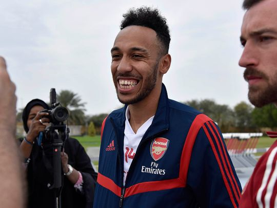 Pierre-Emerick Aubameyang chats to the media