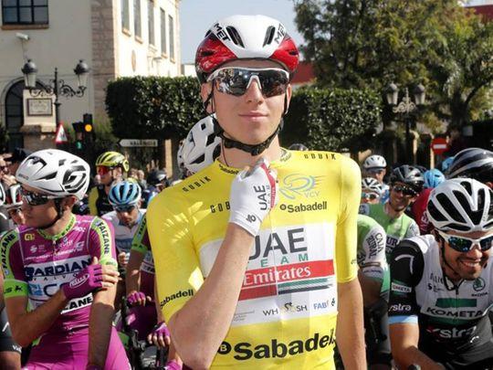 Tadej Pogacar celebrates his victory in the Vuelta Valenciana
