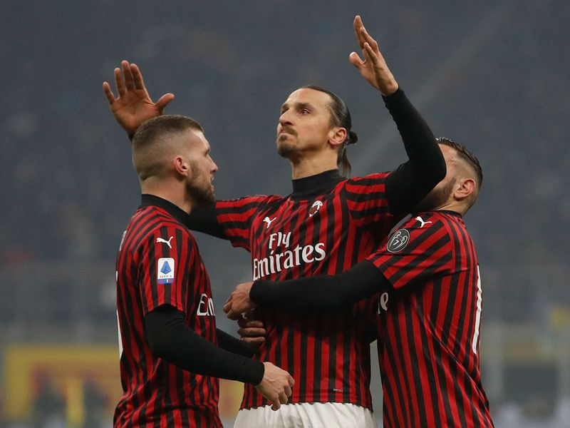 Zlatan Ibrahimovic set up Ante Rebic's opener before scoring with a header, as Milan held a deserved 2-0 lead at the break.