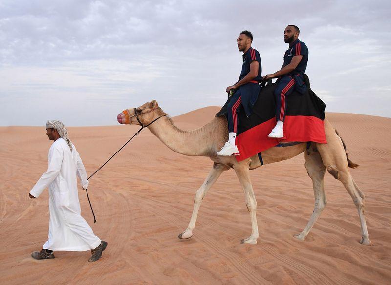 Arsenal players in Dubai