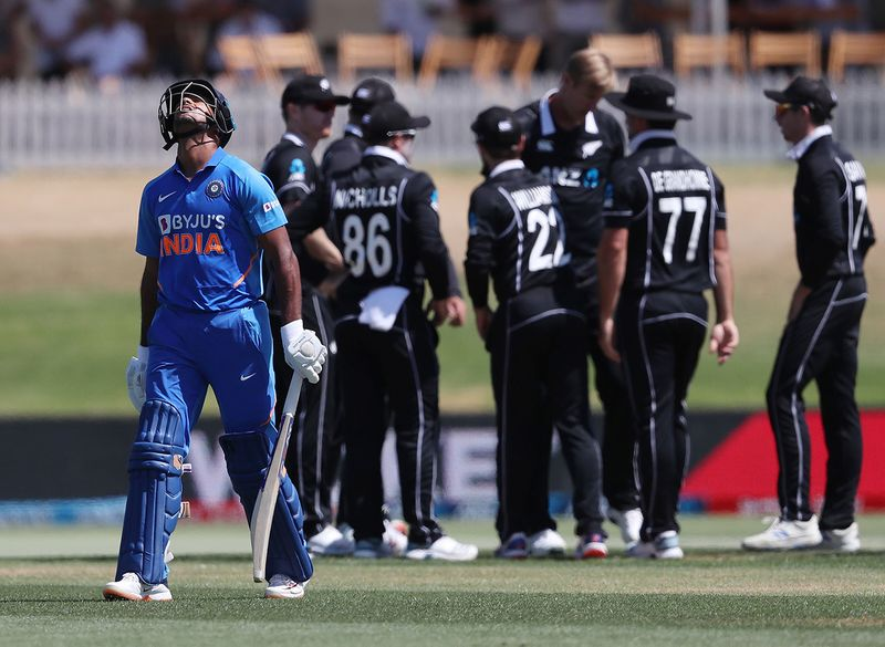 India's Mayank Agarwal is dismissed during the third one-day international cricket match between New Zealand and India at the Bay Oval in Mount Maunganui on February 11, 2020. / AFP / MICHAEL BRADLEY