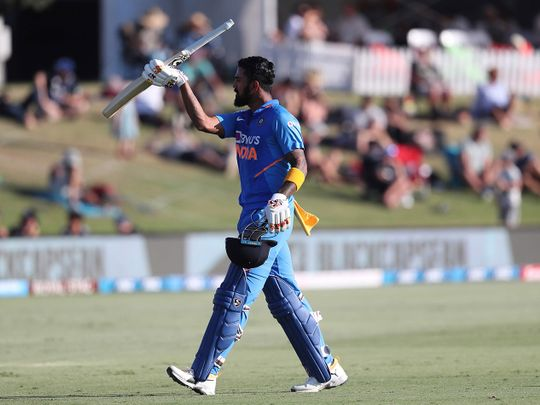 KL Rahul after his century against New Zealand in the third ODI