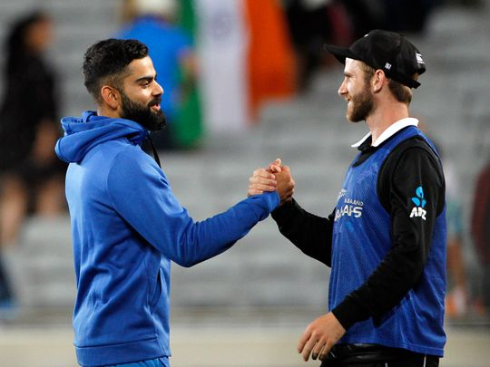 New Zealand, Feb 08 (ANI): Indian skipper Virat Kohli shakes hand with New Zealand's Kane Williamson during the 2nd ODI between India and New Zealand at Eden Park in Auckland on Saturday. (ANI Photo)