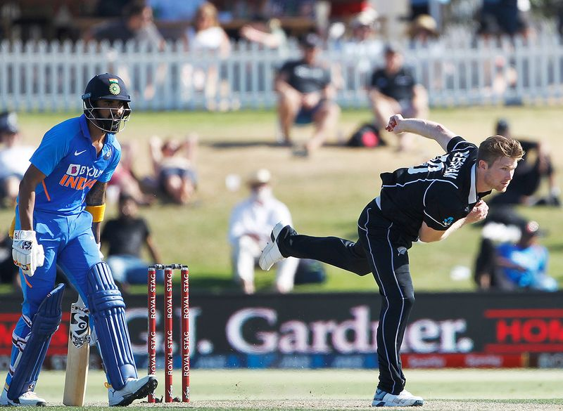 New Zealand, Feb 11 (ANI): New Zealand's James Neesham in action during the third ODI between India and New Zealand at Bay Oval Tauranga on Tuesday. (ANI Photo)