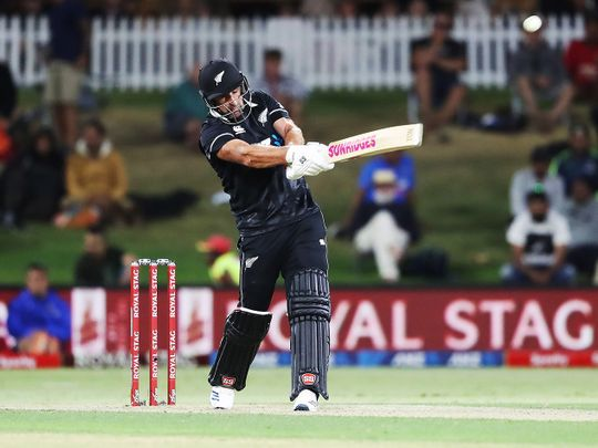 New Zealand's Colin de Grandhommewas in command at the Bay Oval against India