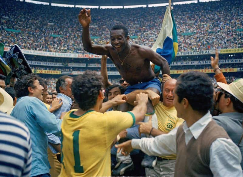 Pele after winning the 1970 World Cup
