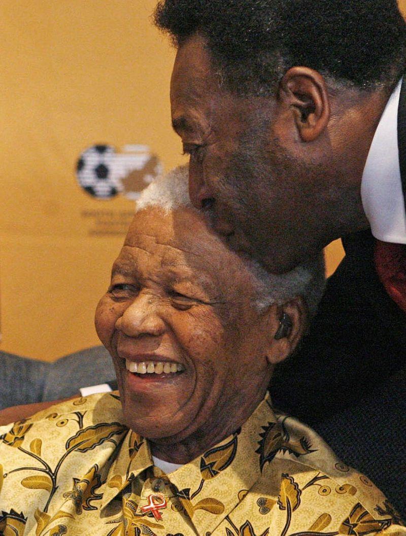 Pele and Nelson Mandela
