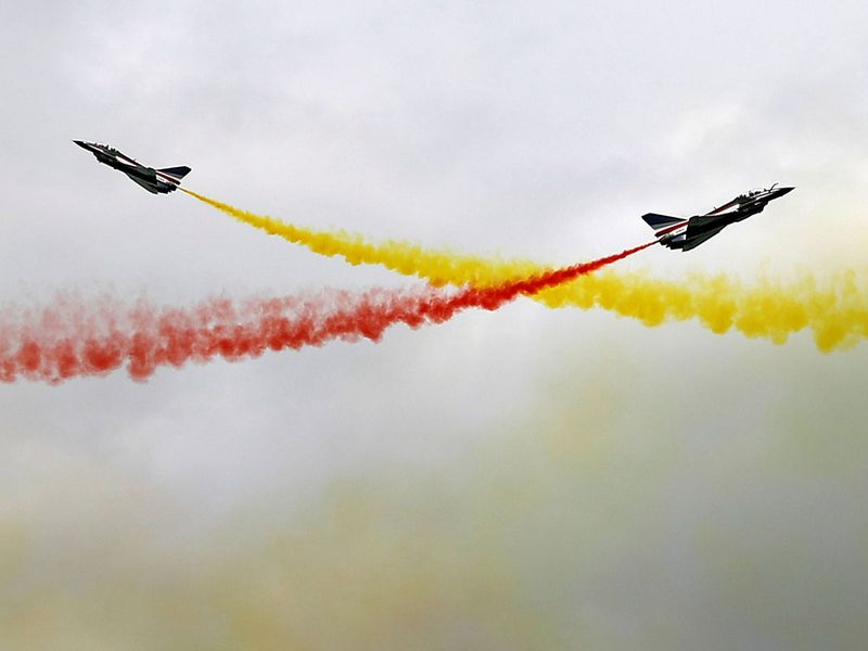 People's Liberation Army Air Force (PLAAF) Ba Yi aerobatics team perform an aerial display.