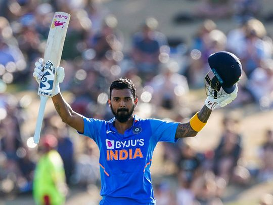 Tauranga: India's KL Rahul celebrates his 100 runs during the One Day cricket international between India and New Zealand at Bay Oval in Tauranga, New Zealand, Tuesday, Feb. 11, 2020. AP/PTI(AP2_11_2020_000034B)