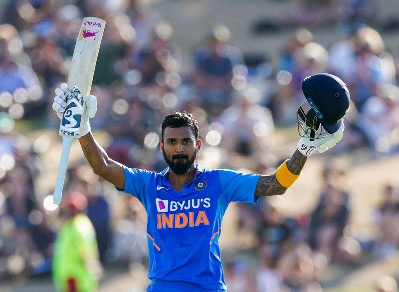 Tauranga: India's KL Rahul celebrates his 100 runs during the One Day cricket international between India and New Zealand at Bay Oval in Tauranga, New Zealand, Tuesday, Feb. 11, 2020. AP/PTI(AP2_11_2020_000034B)