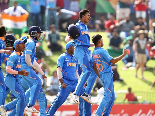 Indian's Ravi Bishnoi celebrates a wicket of Bangadesh's Shahadat Hossain with teammates during the ICC U-19 World Cup Final match between India and Bangladesh, at Senwes Park in Potchefstroom on Sunday. Photo Courtesy by ICC. (ANI Photo)
