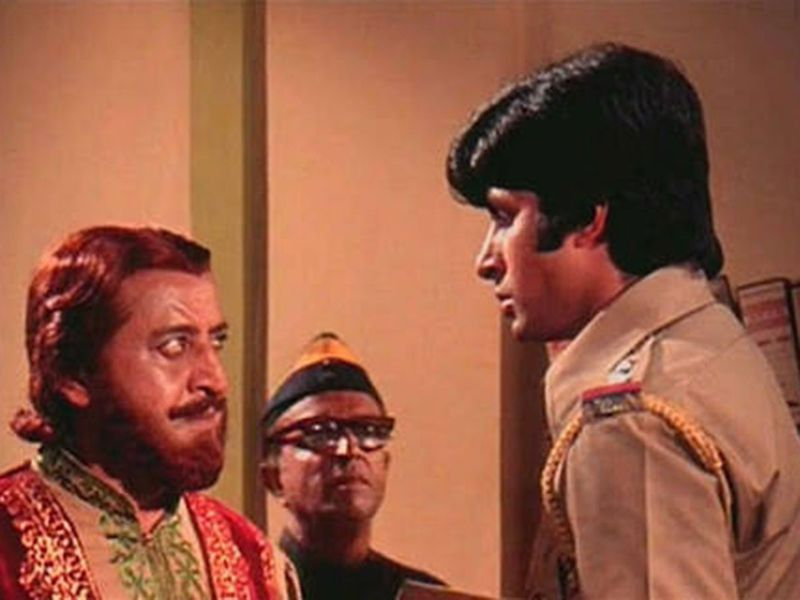 Iconic screen villain Pran with Amitabh Bachchan in the film Zanjeer .