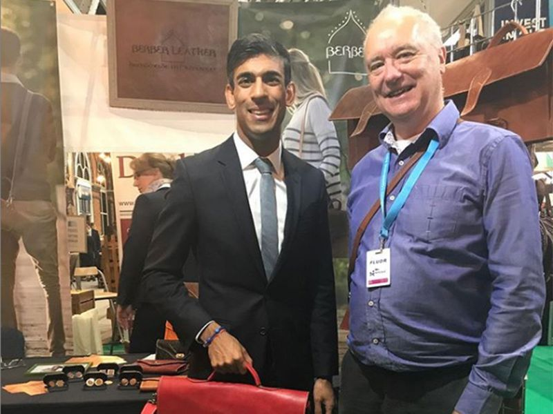 Rishi Sunak with a representative from Berber Leather